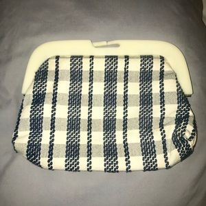 Ivory&Navy Cotton Clutch Purse from Anthropologie